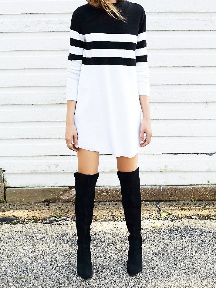Black and White Dress, Black Boots