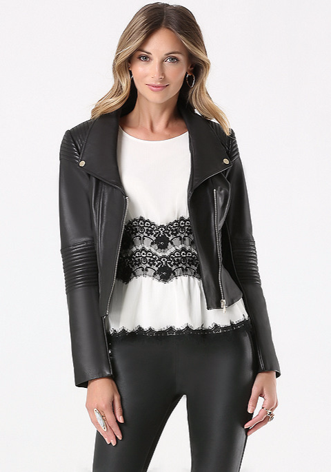 Bebe Black Leather Moto Jacket  Here  ( or Here , pictured above).