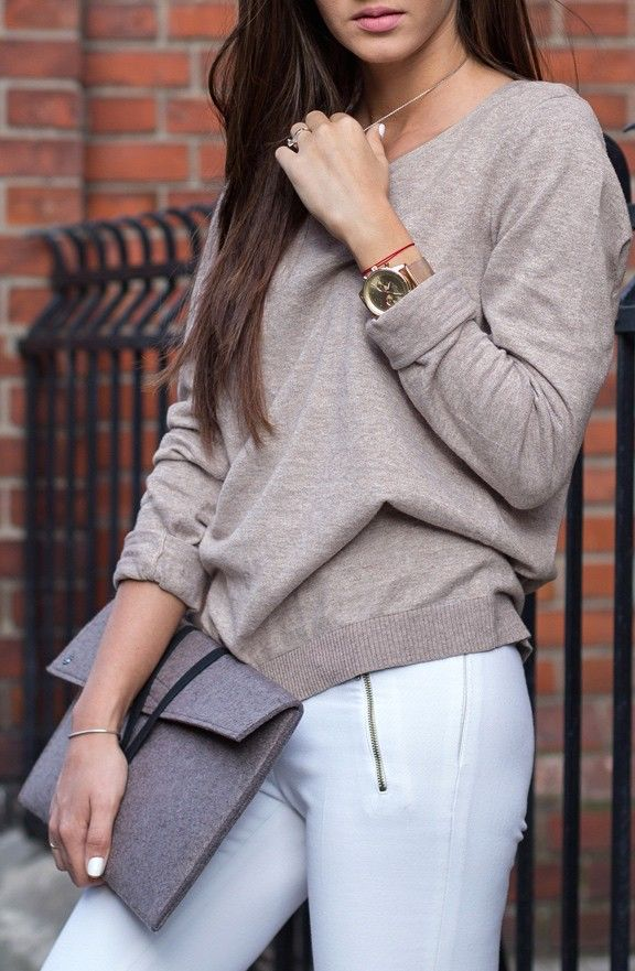 Tan Sweater - Sleeves Rolled Up!