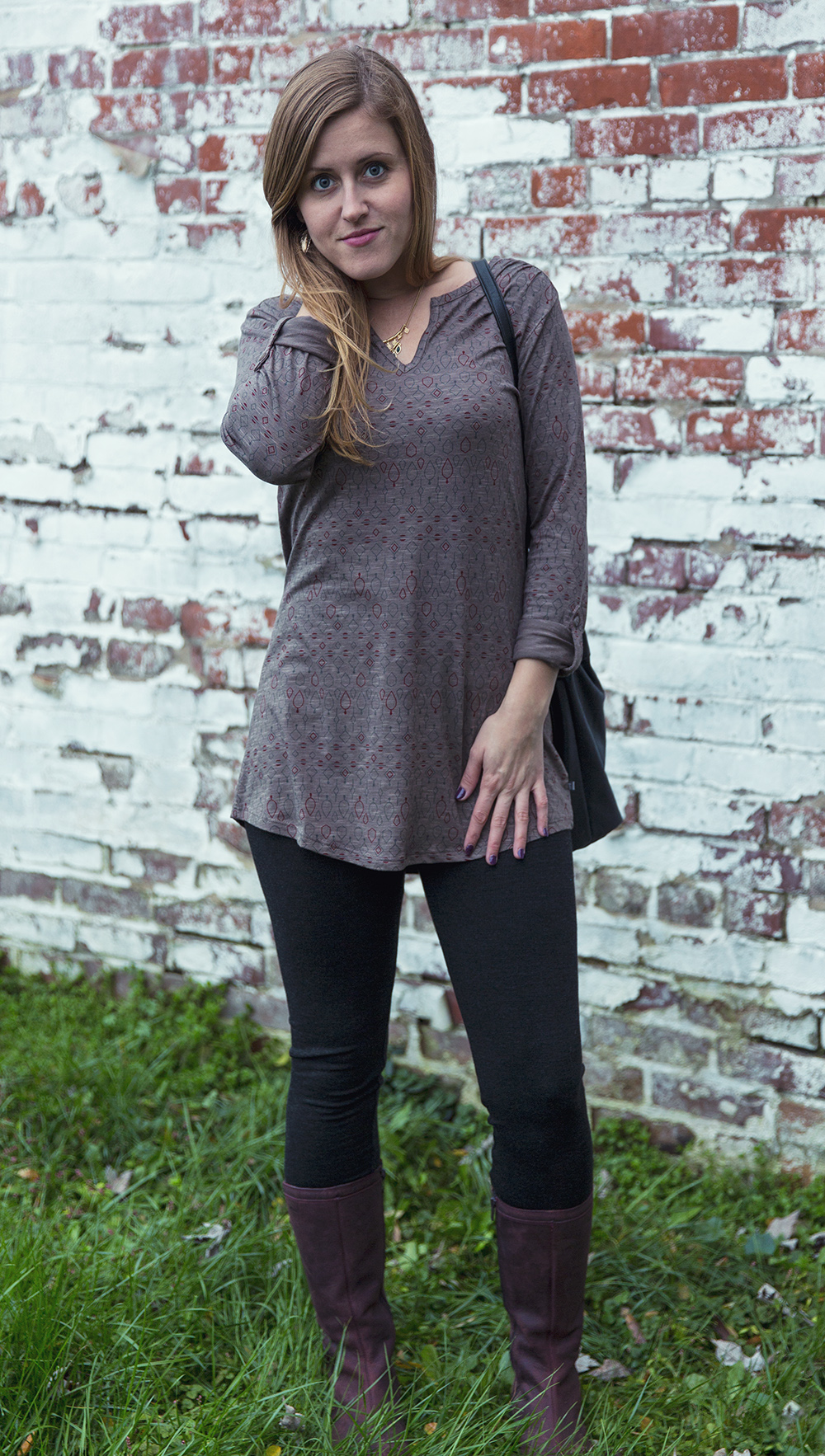 The Tamaya Long Sleeve Tunic, in Falcon Brown Nordic Print