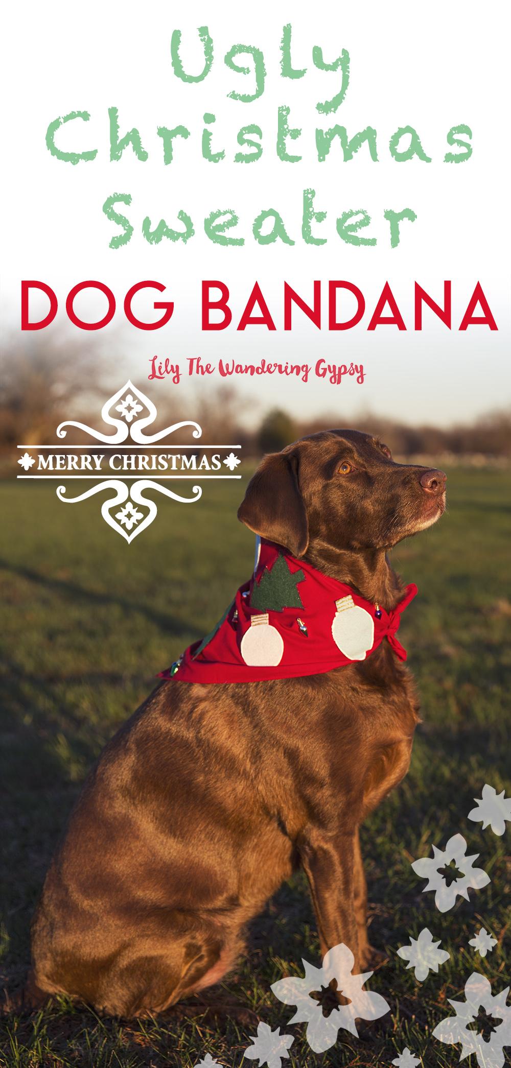 Ugly Christmas Sweater Dog Bandana Diy Tutorial Lily The Wandering Gypsy