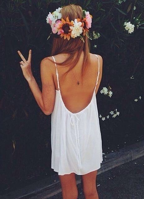 White Dress + Flower Crown