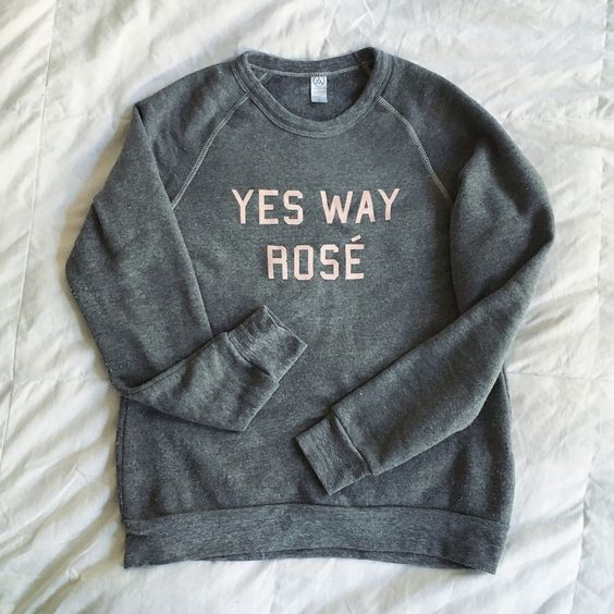 A cute and comfy crewneck sweatshirt  - perfect for wearing while drinking wine.
