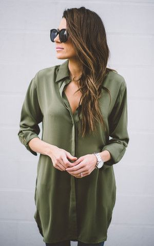Olive Collared Tunic Top