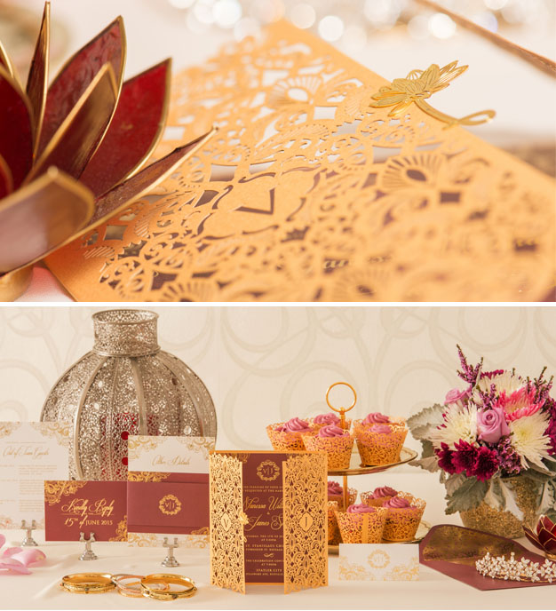 Closeup of Vanessa William's Gold Plated Wedding Invites