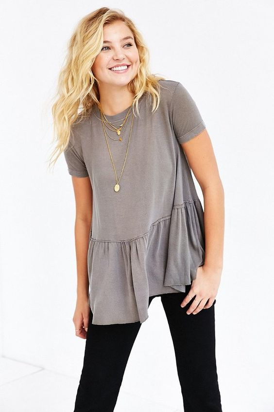 Grey Ruffle Top