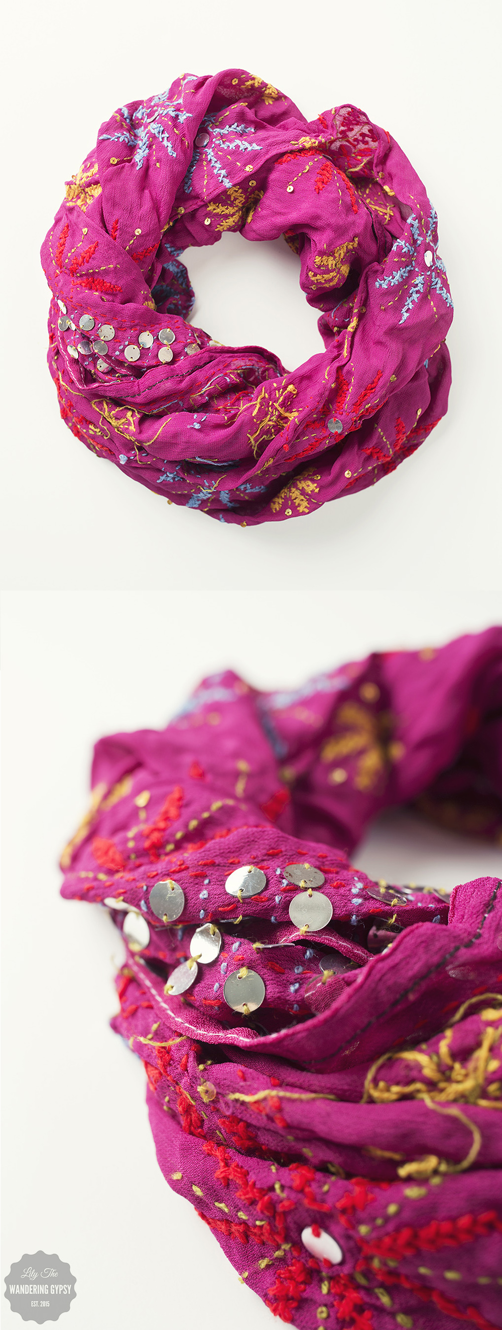 Pink Embroidered Scarf - so pretty!