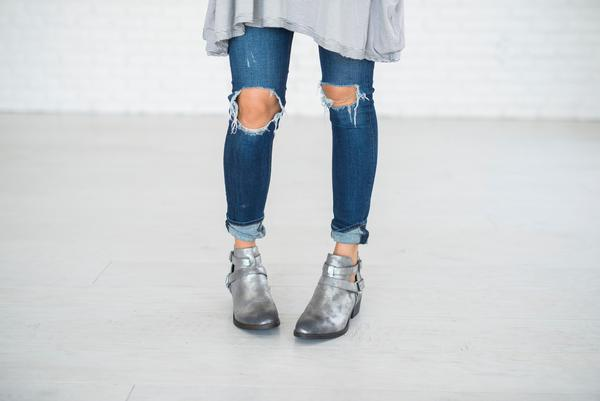 silver booties