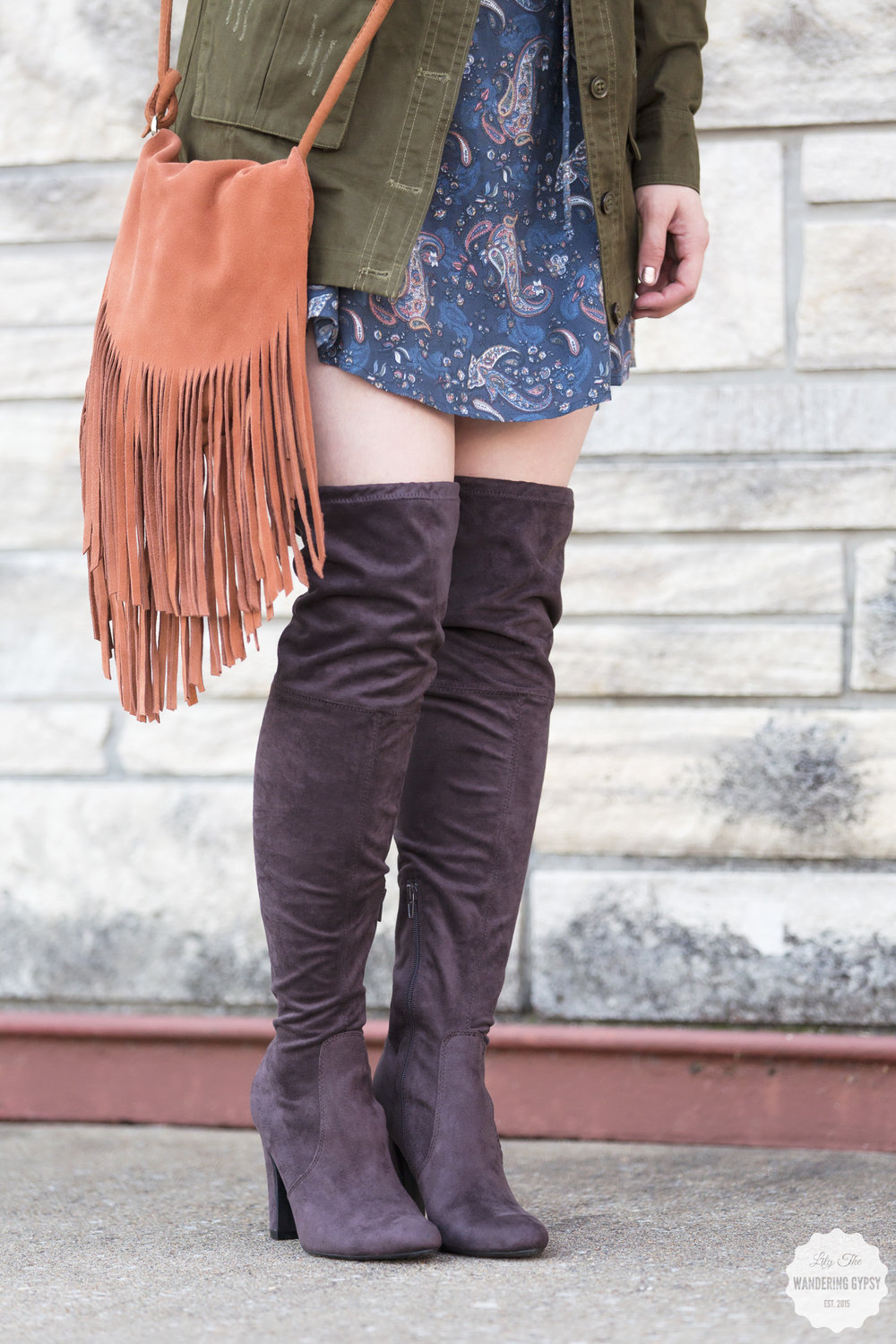 #MyDSW - over the knee boots, fringe purse, paisley dress, army jacket