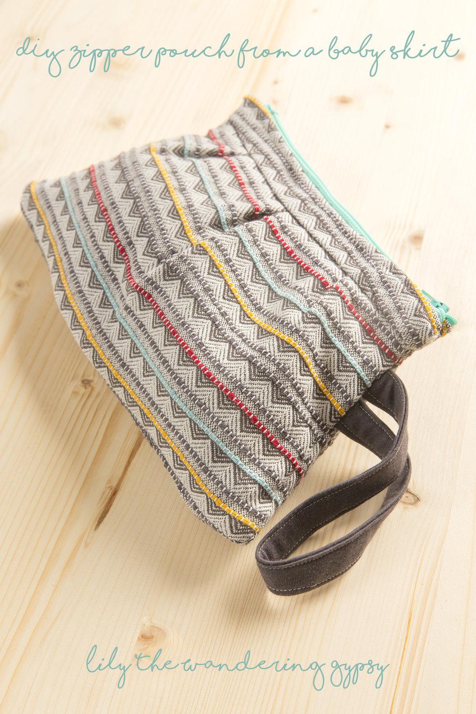 DIY Zipper Pouch From A Baby Skirt