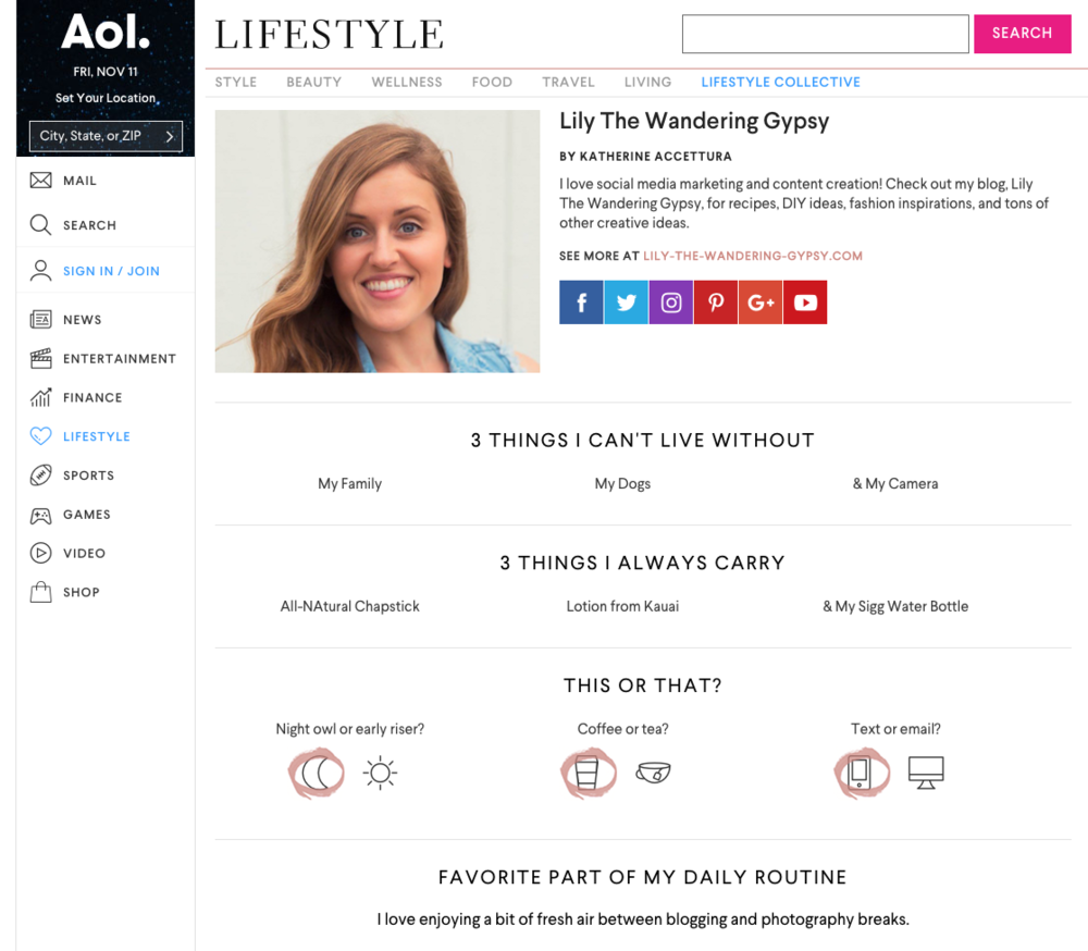 Find Me On AOL Lifestyle Collective