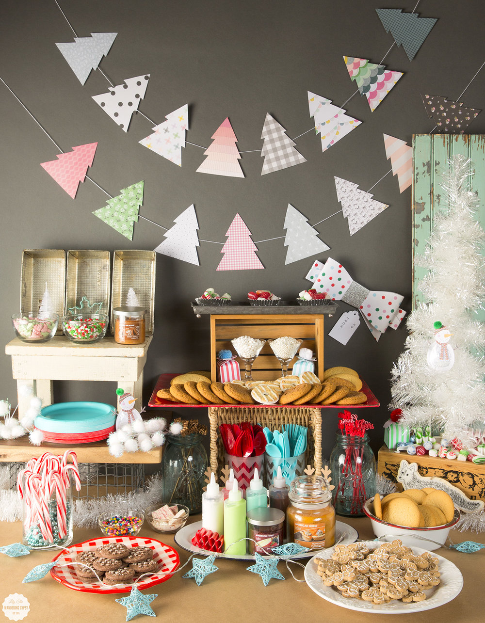 Ordinary Christmas Cookie Party Ideas Part - 10: Holiday Cookie Decorating Party Table