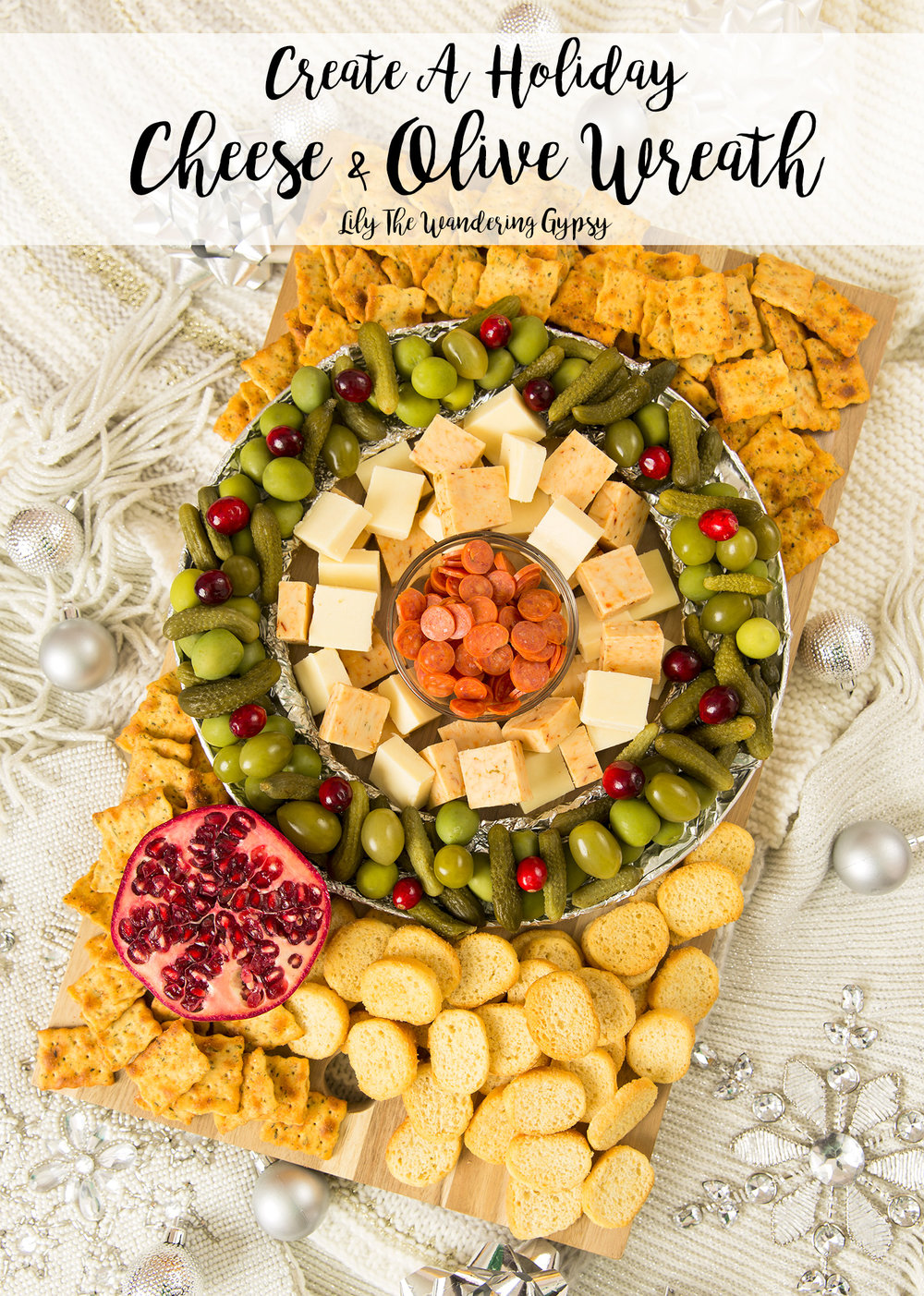 #EasyCheesy - Holiday Cheese + Olive Wreath