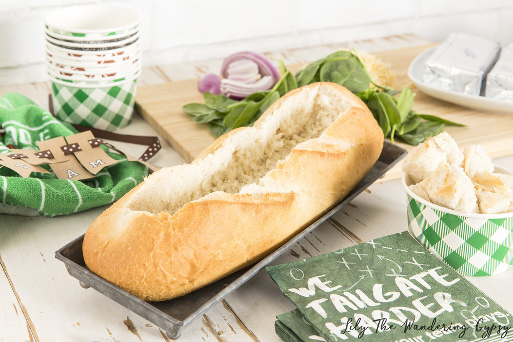 Spinach Dip In French Bread Loaf - Recipe by Lily The Wandering Gyppsy