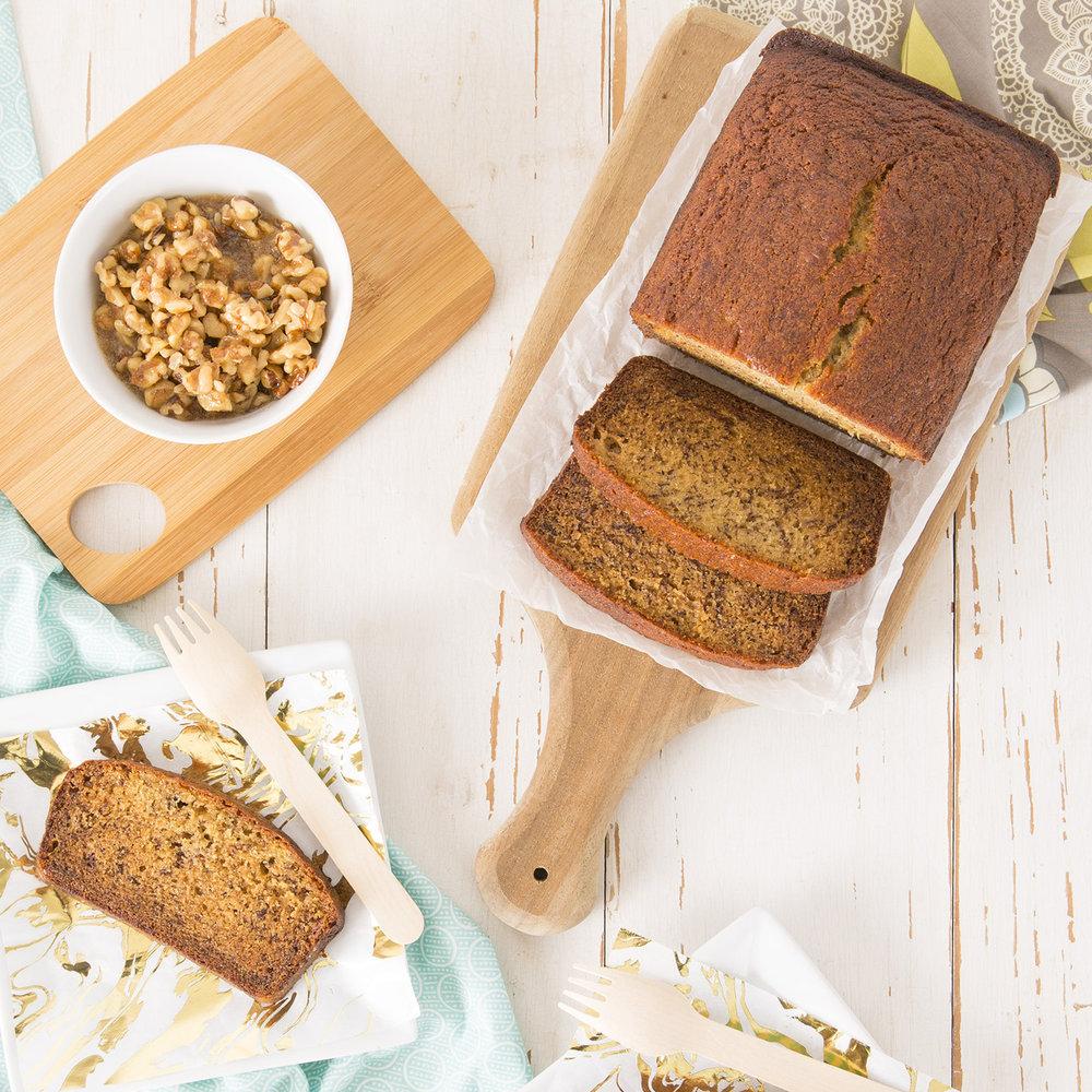 Bananana Bread Recipe with Maple Walnut Topping