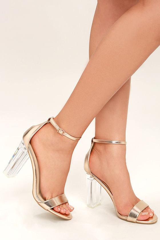 Calista Rose Gold Lucite Heels $34