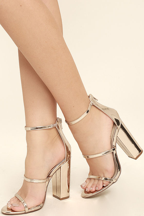 FiFi Mirror Rose Gold Heels $37