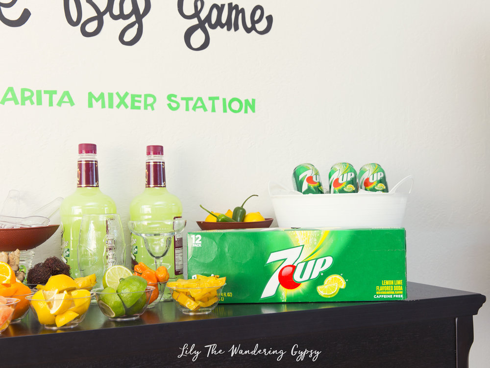 I recommend providing guests with either 7UP® 12 pack cans, or the 8 pack of 12oz bottles, found in the soft drink aisle at Walmart. You can find most everything for this celebration at Walmart, too.