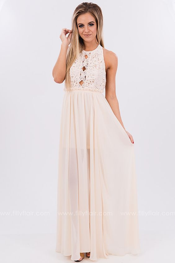 Ivory Love Lace Maxi Dress