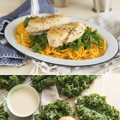 "Squash ""Pasta"" With Maple Glazed Chicken + Kale"