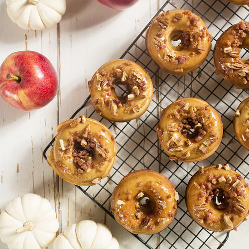 Baked Apple Donuts With Maple Bacon Glaze