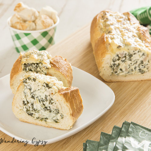 Delicious Spinach Dip Stuffed French Bread