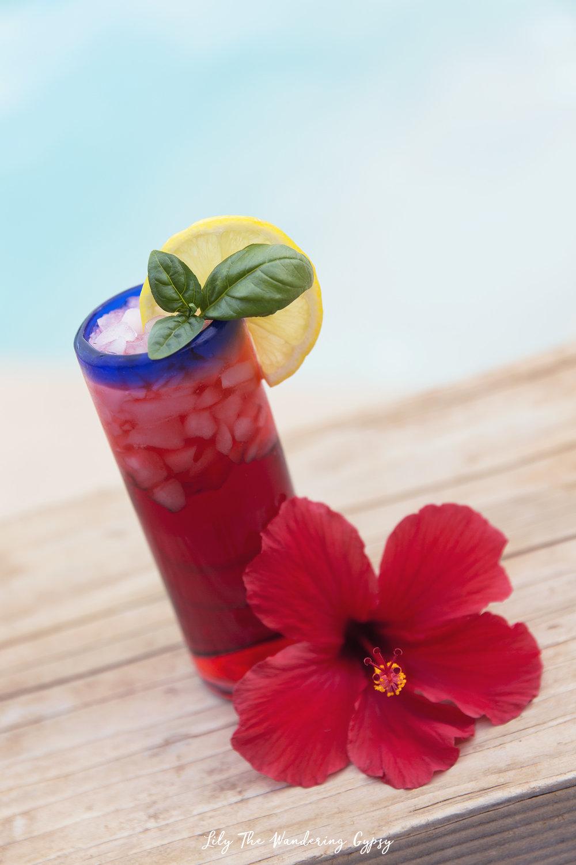 Hibiscus, Lemon, Basil Cocktail drink recipe