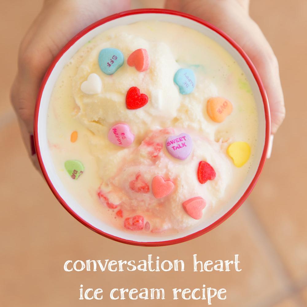 No Churn Conversation Heart Ice Cream