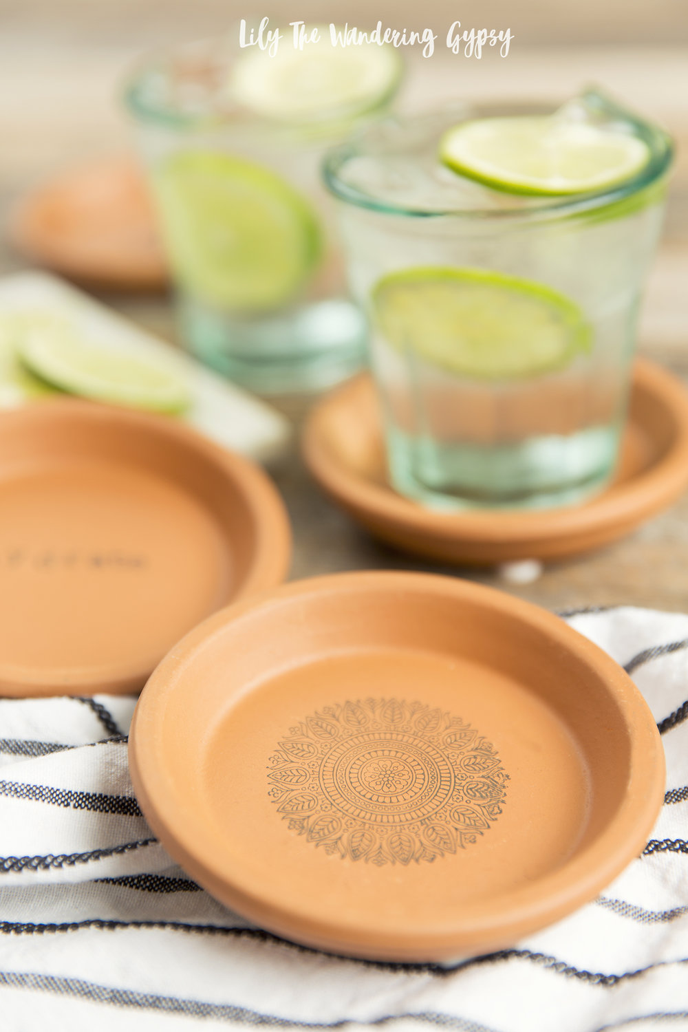 DIY Terra Cotta Stamped Coasters