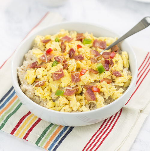 Bacon, Egg, and Cheese Oatmeal -Get The Recipe