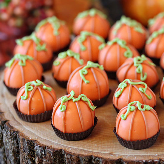 Pumpkin Bread Truffles Decorated Like Mini Pumpkins