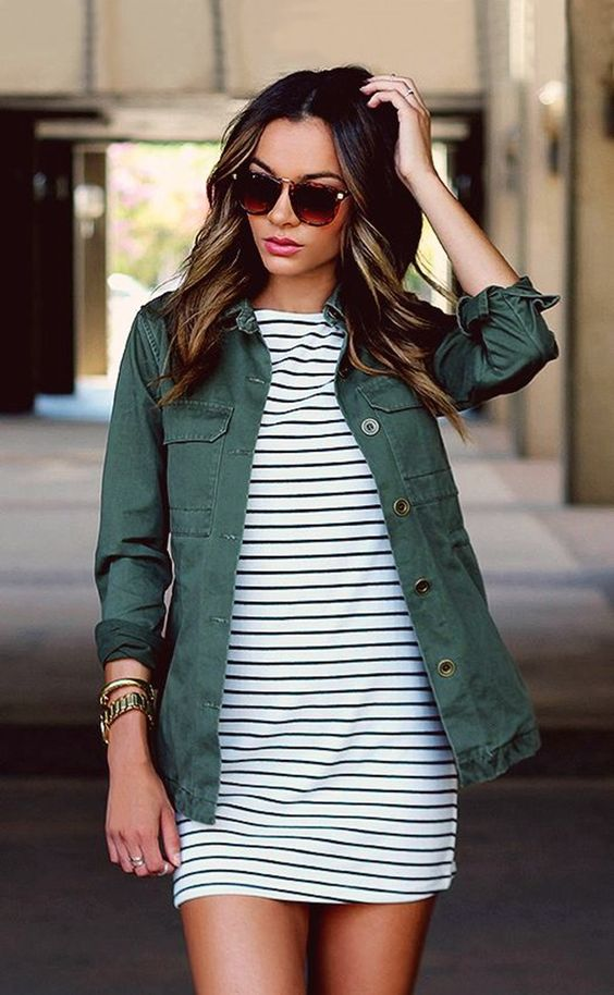 Army Jacket + Striped Shirt Dress