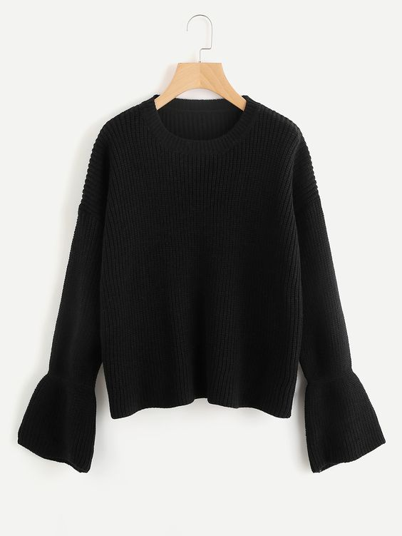Black Jumper Sweater with Bell Sleeves