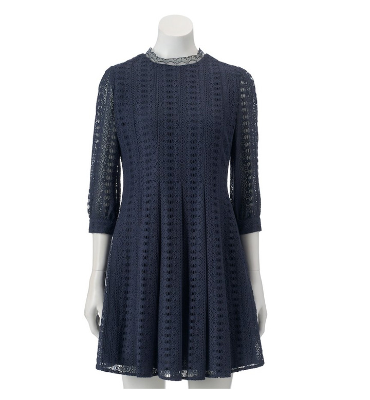 LC Lauren Conrad Navy Lace Dress