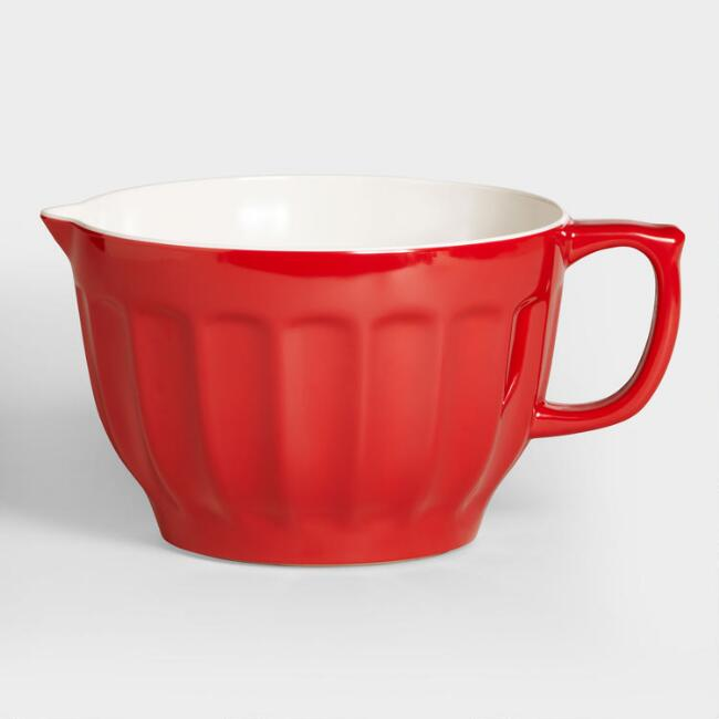 Red Ceramic Measuring Bowl