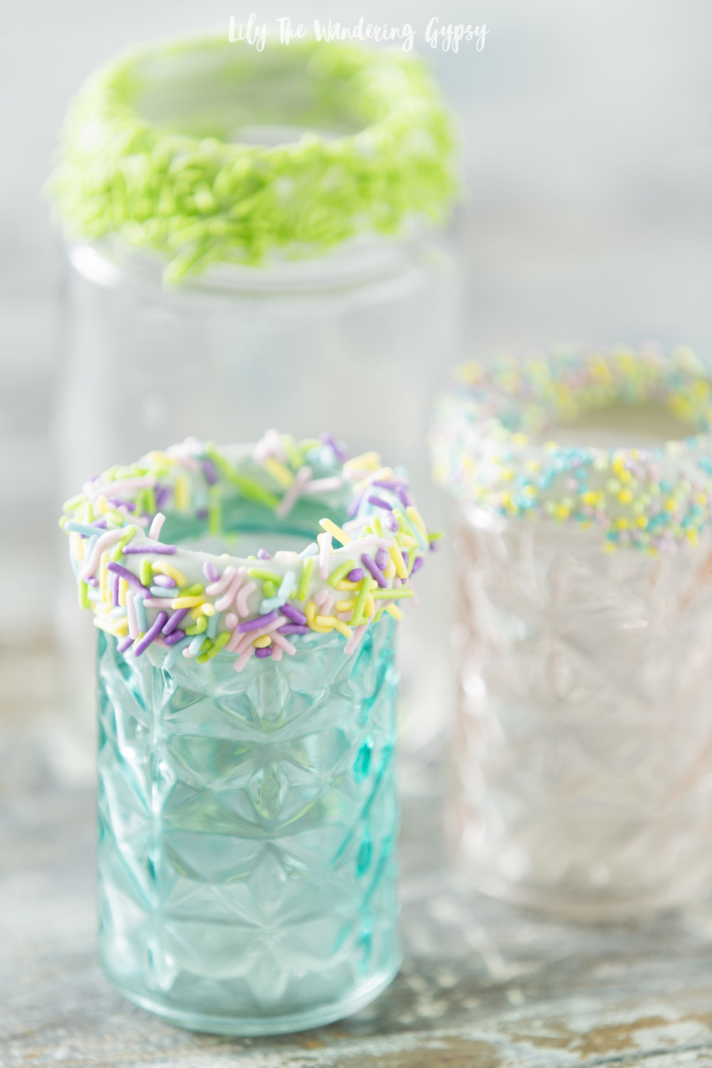cute jars with sprinkles on rim