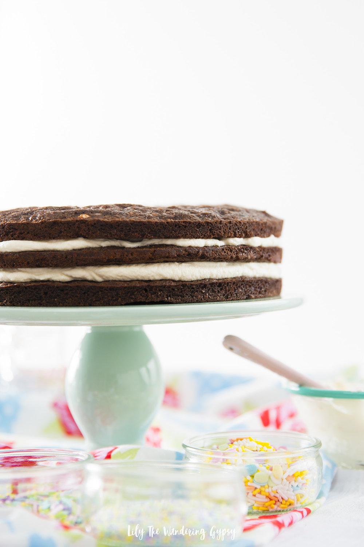 Caramel Brownie Layer Cake