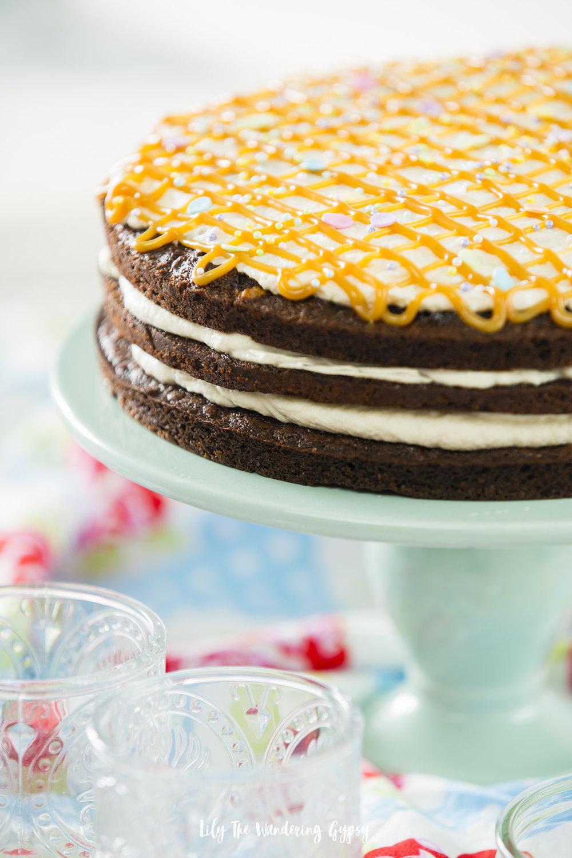 Caramel Brownie Layer Cake #easyrecipe