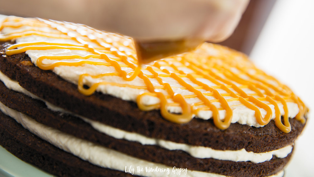Caramel Brownie Layer Cake