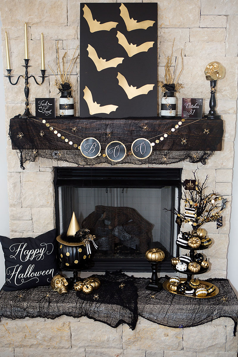 Beautifully Dark and Glam Elegant Halloween Mantle and Decor