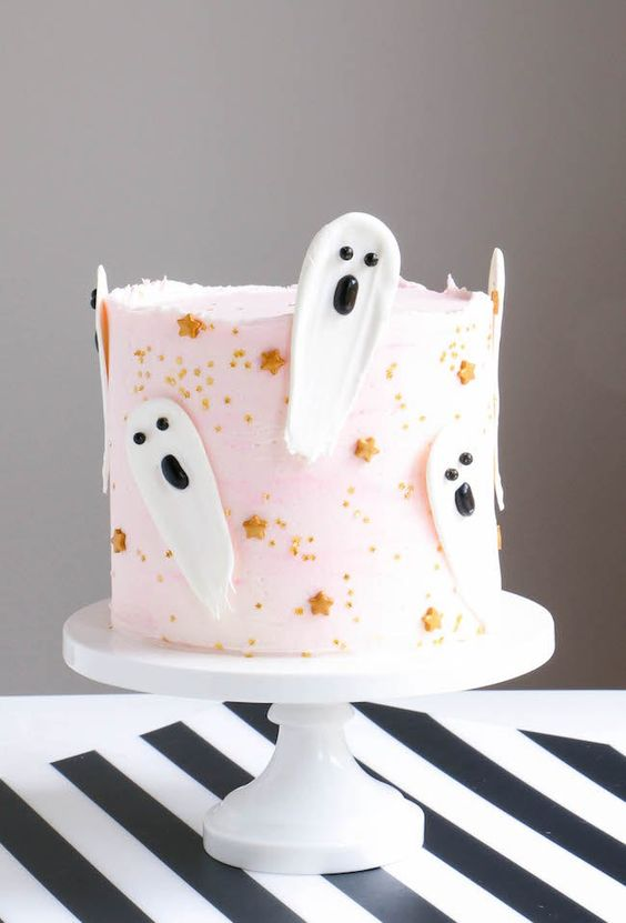 This amazing  Brushstroke Halloween Ghost Cake  is out of this world spooky and artistic!