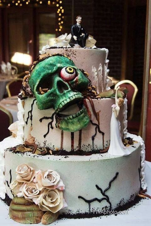 This zombie face wedding cake would definitely win an award for one of the creepiest cakes!