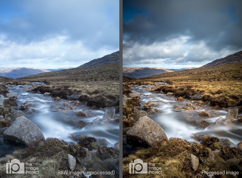 'Wild Mountain River' before (left) and after (right) processing