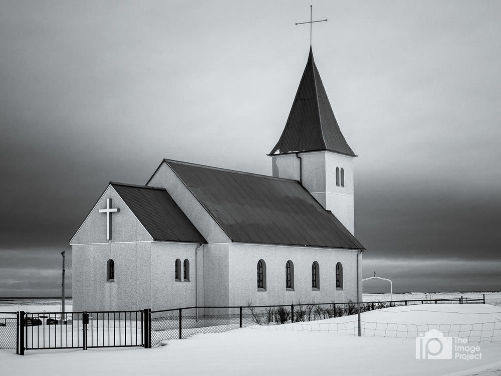 church in bleak snowy sky snæfellsnes peninsula iceland by nathan barry the image project