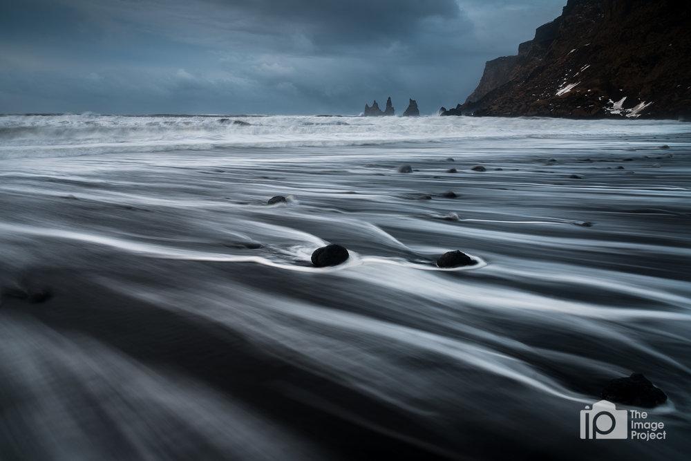 Stormy Black Beach at Vik, Iceland