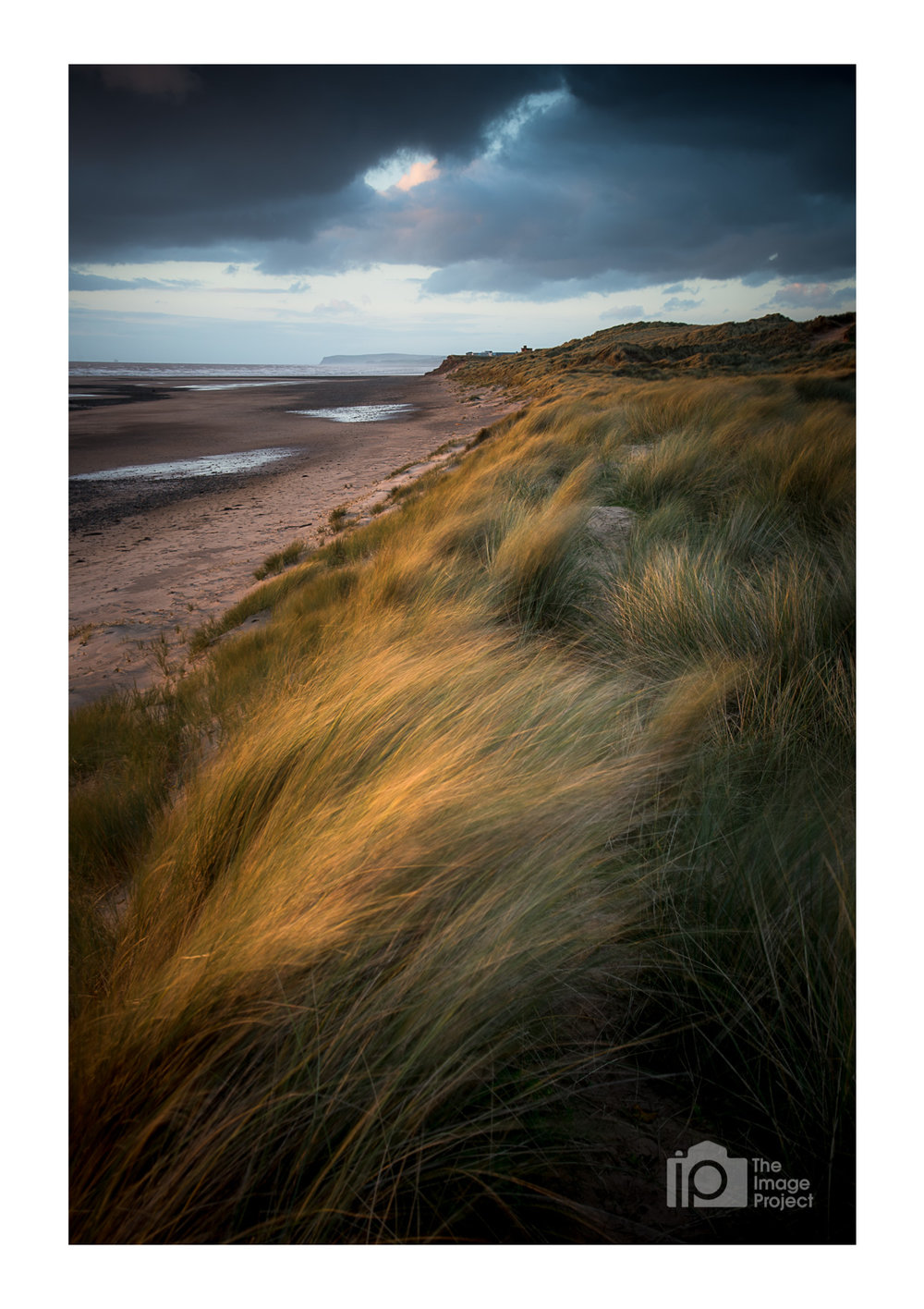 Evening light hits grassy sand dunes at Drigg