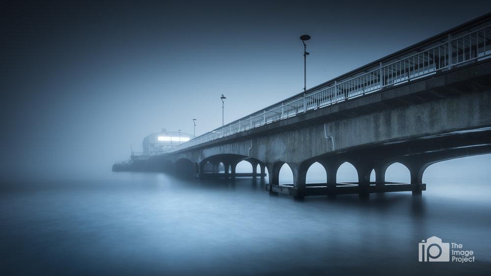 Bournemouth pier in fog