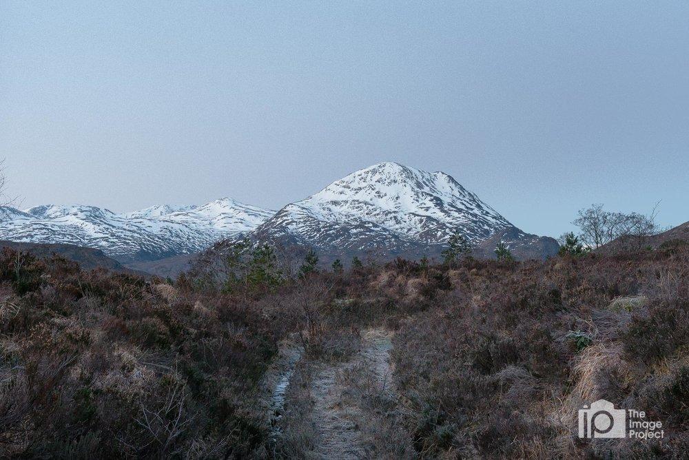 Crisp and chilly pre-dawn scene looking into a mountain range near Torridon, Feb 2018