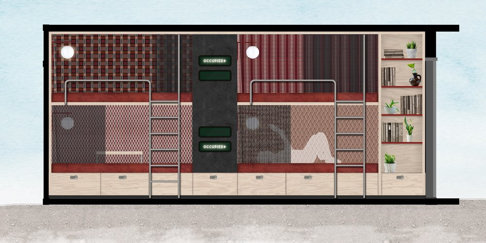 Coworking container sketch, single stations.