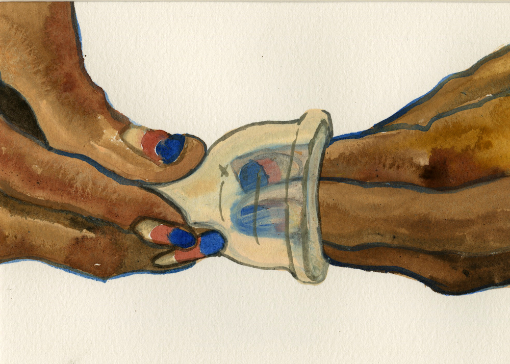 Insert , 2015. Watercolor, gouache on paper. 11x8""